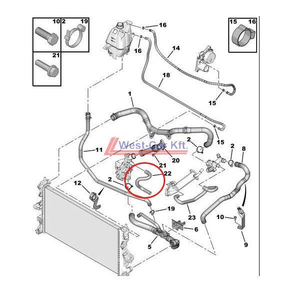 Vízpumpa vízcső Citroen Jumper Peugeot Boxer 06- 2.2HDI Gyári szám: 1323T1