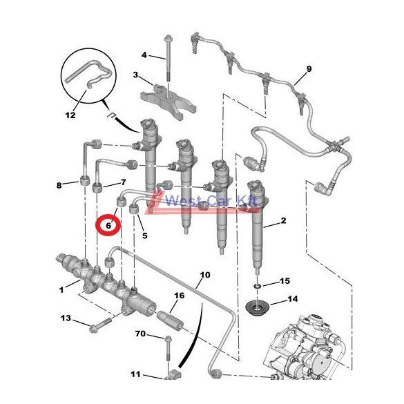 Üzemanyagcső Citroen Jumper Peugeot Boxer 2.2HDI BOX 06- 2 INJ. Gyári szám: 1570K7