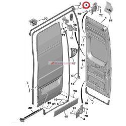 """Bal hátsó felső ajtózsanér Citroen Jumper Peugeot Boxer 06- 180"""" Gyári szám:1617323980"""