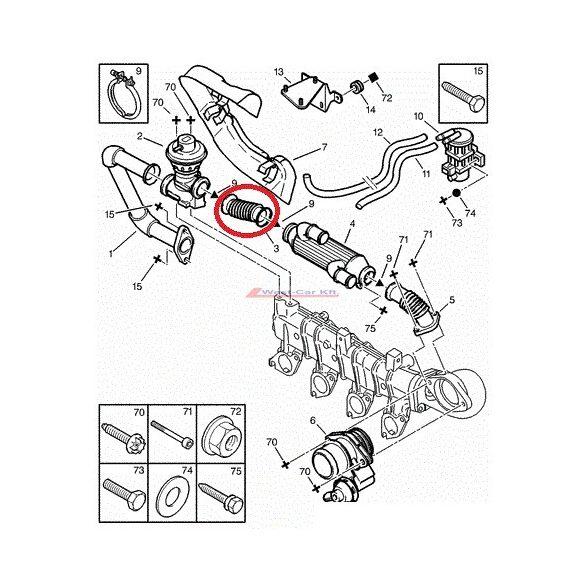 EGR szelep cső Citroen Jumper Peugeot Boxer 2002- 2.0HDI Gyári szám: 1628WX