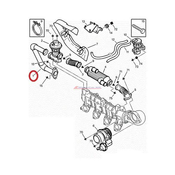 EGR szelep cső Citroen Jumper Peugeot Boxer 2002- 2.2HDI Gyári szám: 1628XA