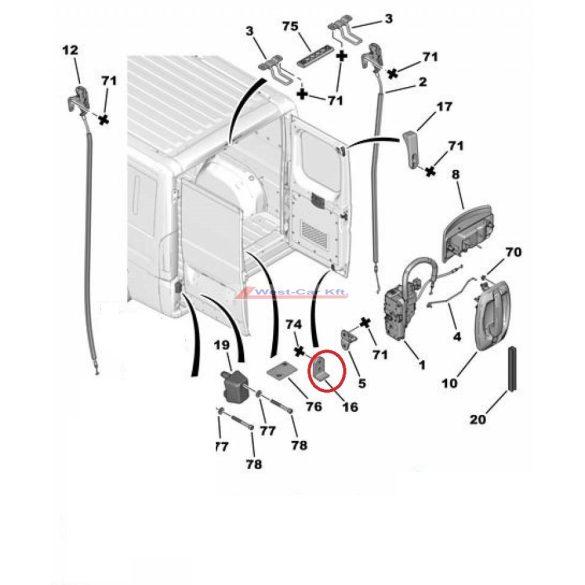 Hátsó ajtóütköző alsó Citroen Jumper Peugeot Boxer 06-  Gyári szám: 8724.E7 1648323580