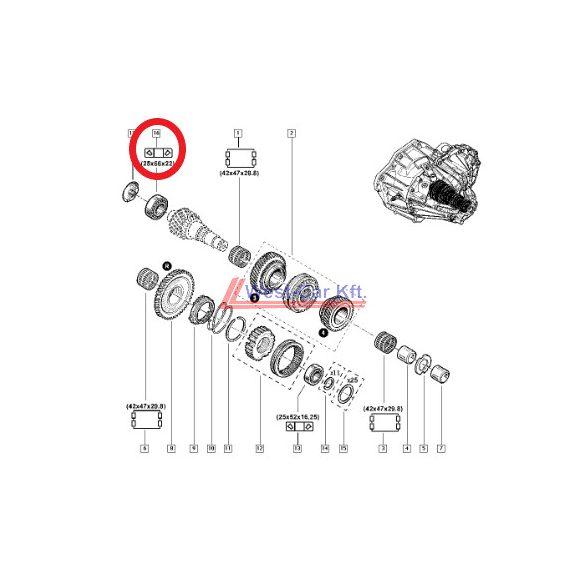 2010-> Renault Master Opel Movano Nissan NV400 2.3 Dci szekunder tengely csapágy Gyári szám: 322637415R
