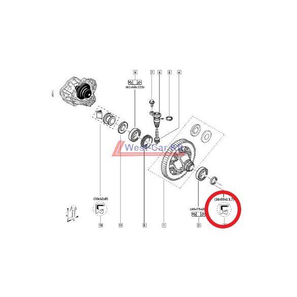 2010-> Renault Master, Opel Movano Nissan Interstar 2.3 Dci differenciálmű tömítés Gyári szám: 383421561R