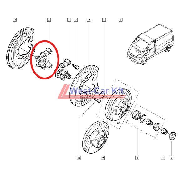 2014-> Renault Trafic Nissan NV300 Opel Vivaro Jobb hátsó kerékagy Gyári szám: 430421801R