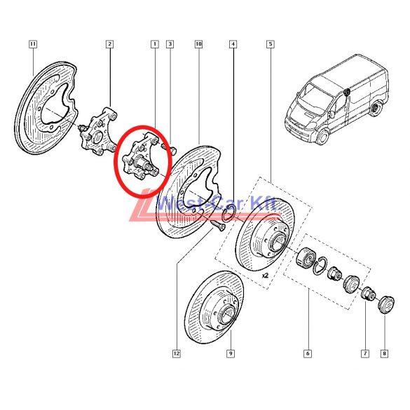 2014-> Renault Trafic Nissan NV300 Opel Vivaro Bal hátsó kerékagy Gyári szám: 430433572R