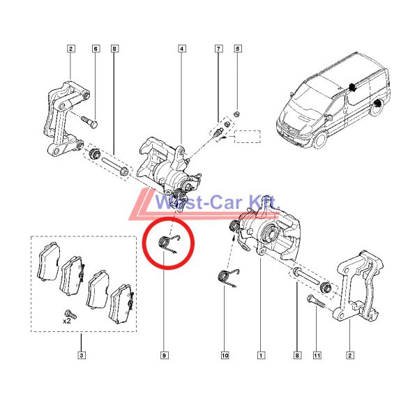 2001-> Renault Trafic Opel Vivaro gyári jobb hátsó féknyereg visszahúzó rugó Gyári szám: 7701052563