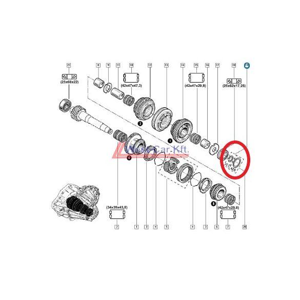 2010-> Renault Master Opel Movano Nissan NV400 2.3 Dci váltó hézagoló készlet Gyári szám: 7701471586