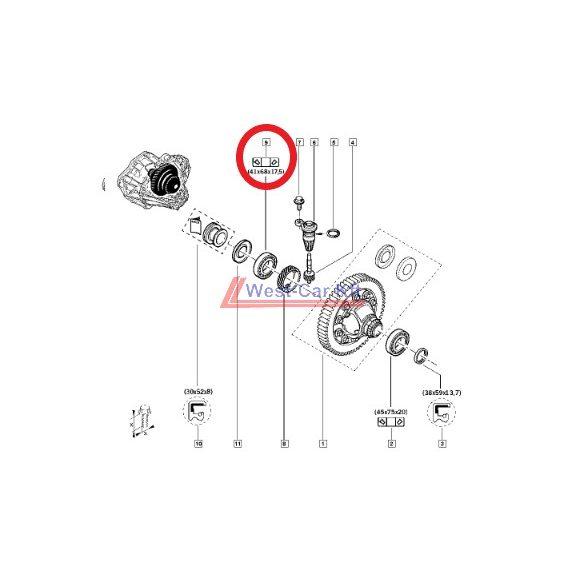 2010-> Renault Master, Opel Movano Nissan Interstar 2.3 Dci differenciálmű csapágy Gyári szám: 7703090344