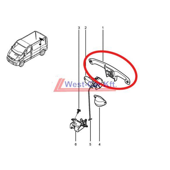 2001-> Renault Trafic Opel Vivaro Gyári (Nissan) hátsó ajtó kilincs Gyári szám: 8200007345