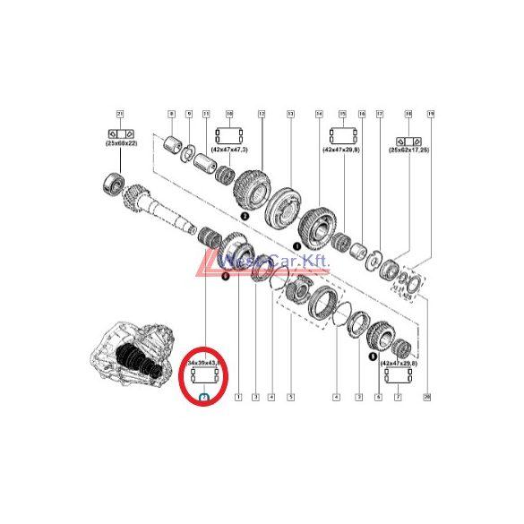 2010-> Renault Master Opel Movano Nissan NV400 2.3 Dci 6. sebesség tűgörgős csapágy Gyári szám: 8200026371