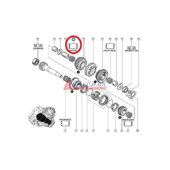 2010-> Renault Master Opel Movano Nissan NV400 2.3 Dci 2. sebesség tűgörgős csapágy Gyári szám: 8200026372