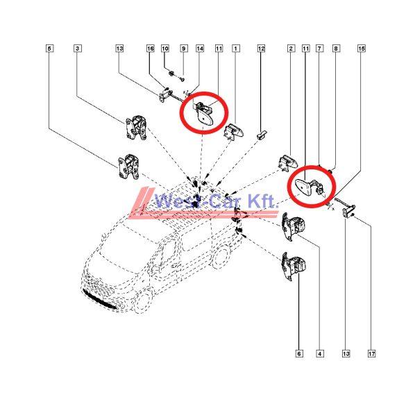 2001-> 2014-> Renault Trafic Opel Vivaro Gyári (Nissan) hátsó ajtóhatároló Gyári szám: 824302173R
