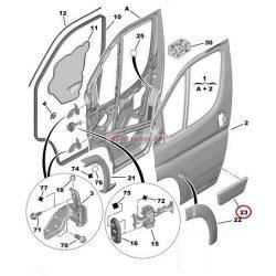 2006->Citroen Jumper Peugeot Boxer Fiat Ducato Ajtódíszléc jobb első  Gyári szám: 8545FC