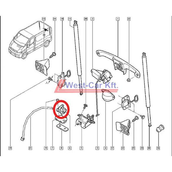 2001-> Renault Trafic Opel vivaro Gyári (Nissan) hátsó ajtó ütköző Gyári szám: 905702202R