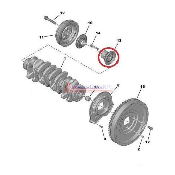 2006-> Citroen Jumper Peugeot Boxer Ford Transit 2.2HDI Főtengely fogaskerék Gyári szám: 9675778480 0513C6 1682478